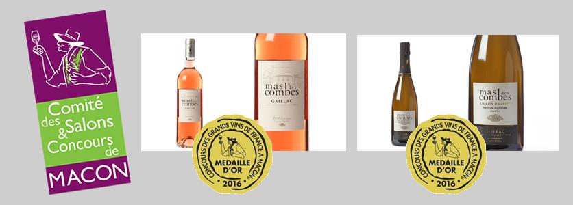 2 médailles d'or au concours des Vins de Mâcon 2016 pour le rosé 2015 et la Méthode Gaillacoise demi-sec